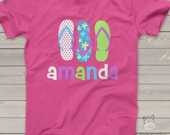 Summer flip flop girls personalized DARK Tshirt - perfect for a day at the beach