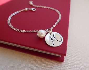 Personalized Bracelet, Initial bracelet, Pearl bracelet, personalized Bridesmaid gift, mothers bracelet, friendship bracelet, 925 silver