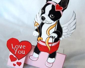 Cupid Boston Terrier - Desk Decor Paper Doll