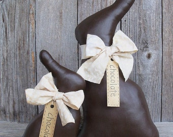 Chocolate Easter Rabbit with Ivory Bow, Easter, Bunny, Decoration, Fake Chocolate, Country Primitive, Rustic, Spring, Large, Small