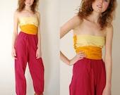 Color Block Jumpsuit Vintage Sunset Color Block Bandeau Tube Wrap Boho Hippie Jumpsuit (s)