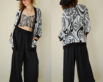 Slouchy Cardigan Vintage 80s Graphic Abstract Slouchy Oversized Cardigan Sweater (s m)