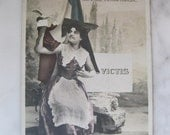 SALE !!! Hand tinted French photo postcard.1920 era.French Flag, Dove withe letter. Lovely Woman.
