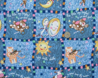 "100% Cotton Fabric Hey Diddle Diddle Coordinate 45"" wide BTY Cat Cow Moon Dog Dish Spoon"