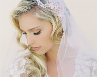 SALE Sweet Pea Bridal Illusion Tulle with Pink Alencon Lace Two Tier 42 Inch With 30 Inch Blusher Juliet Cap Wedding Veil 1511
