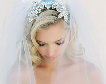 Wedding Veil, Crystal Comb, Crystal Veil, Silver Beaded Veil, Cathedral Veil, Triple Layer Veil, Off White, Ivory, Joanna Krupa Veil #1524