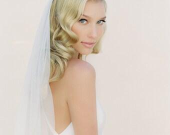 Bridal Wedding Veil, One or Two Tiered Veil, Fingertip Veil, English Net Veil, Ivory Veil, Chapel Length Veil, Traditional Veil 0801 EN