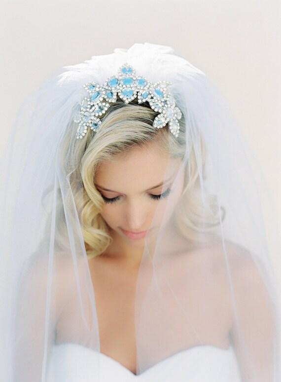 Wedding Veil, Crystal Comb, Crystal Veil, Silver Beaded Veil, Cathedral Veil, Triple Layer Veil, Off White, Ivory, Joanna Krupa Veil, 1524