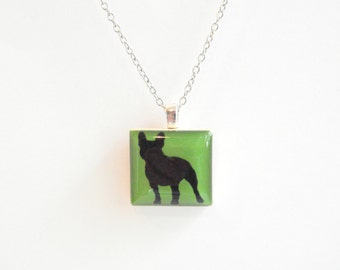 Boston Terrier Silhouette Necklace - Dog Silhouette Jewelry - Black Silhouette Custom Dog Pendant - Resin Dog Necklace - Custom Color Choice