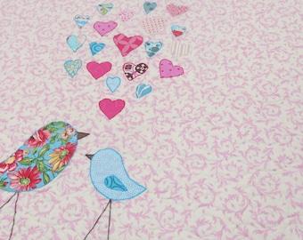Crib Quilt Baby Girl Bird Modern - Mama and Baby Bird