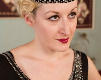 Vintage 1920s Headdress - Rare Black Velvet and Rhinestone Flapper Headband