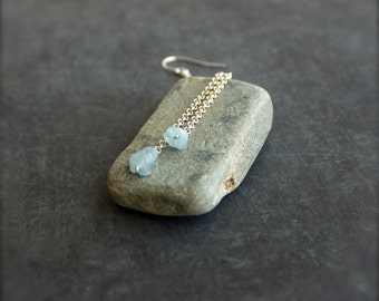 Blue Aquamarine Long Chain Dangle Earrings Sterling Silver March Birthstone Gemstone Jewellery