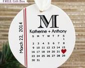 Just Married Ornament Wedding Ornament Personalized Christmas Ornament Custom Wedding Date Calendar Monogrammed Wedding Gift - Item# WDC-M-O