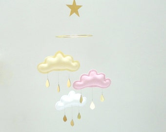 "Light Yellow,Light Pink,White cloud and gold Star mobile for nursery ""SUNDAY"" with gold star by The Butter Flying-Rain Cloud Mobile Nursery"