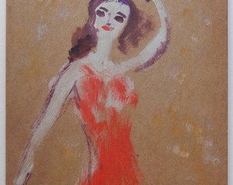 Flamenco Dancer in Red- Mid Century Modern Abstract Unique Original Oil - André Grill
