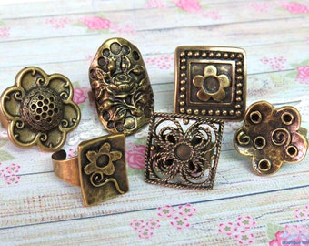 SALE 6 Brass , antique Gold Bronze plated ring blanks , square & flower ring settings, Boho vintage oxidized rustic , adjustable wide band P