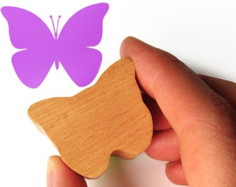 Wooden Butterfly Stamp, Scrapbooking in Wood and Rubber