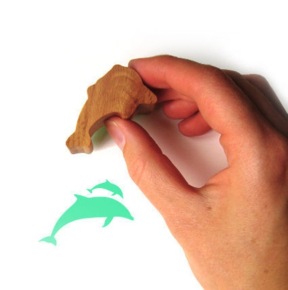 Dolphin Stamp, Rubber Stamp for Card Making and Scrapbooking with Carved Wood Handle