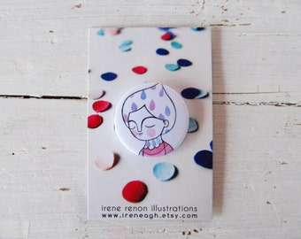 Rain girl pin, purple pastel button brooch