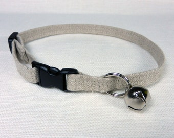 "Cat Collar in 100% Natural Linen Fabric - Two Adjustable Sizes 3/8"" x 8""-11"" or 3/8"" x 9""-14"""
