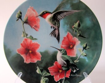 Vintage The HummingBird China Collectors Plate 1984 Birds Artist Kevin Daniel Personal Collection Knowles Fine China