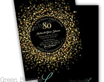 SPARKLY GOLD  Birthday Printable Party Invitation - Printing Available