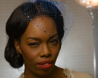 Blue bird cage veil with Swarovski crystals