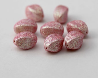Vintage Opaque Sparkle Pink Lucite Twist Oval Beads 16mm (8)