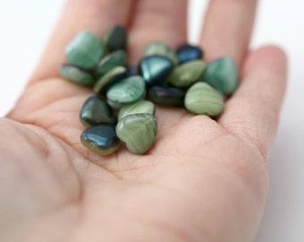 Czech Glass Green Givre AB Heart Beads Marbled 10mm (20)