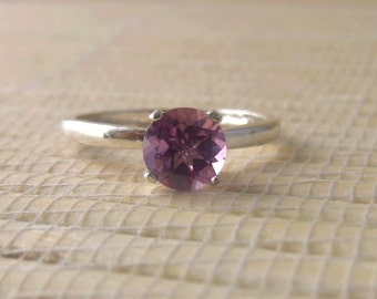 African Amethyst Ring Sterling Silver February Birthstone Ready to ship size 7