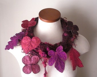 Leaf Scarf - Tyrian Purple with Amaranth Pink, Deep Magenta, and Dark Plum Embroidered Leaves- Fiber Art Scarf