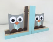 Owl Bookends, Aqua Blue and Gray,  Woodland Nursery, Owl Kids Decor, Owl Decor, eco-friendly