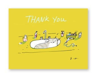 Funny Thank You Card - Cat in Sink - Cat Thank You Card - Thanks Mom