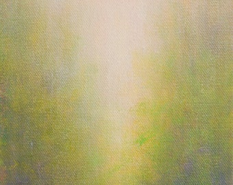 Abstract Landscape Painting, Pink, Green, Spring Colors, Ethereal Light, Verticle
