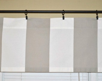 "Taupe White Valance Curtain - Cabana Ecru - Wide Vertical Stripes - READY TO SHIP - 46""W x 16""L"