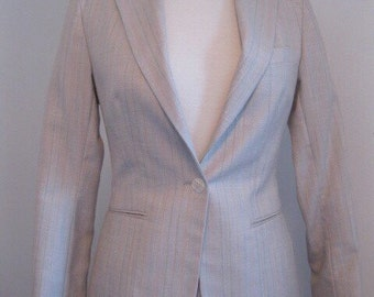 vintage 1970s jacket suit skirt SECRETARY skinny tiny fit taupe mint green and peach stripes