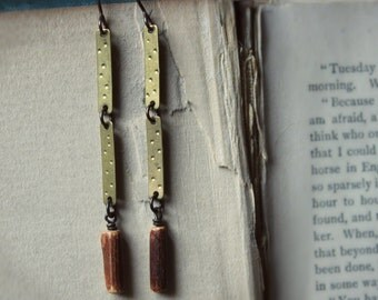 Driftwood. Rustic Boho Earthy Wood Branch Bead and Textured Brass Earrings.