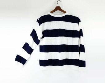 sale 80s Striped Top, Stripe Sweater, Vintage Dark Navy, Navy White Stripe, Crop Stripe Top, 80s Sweater, M