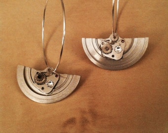 Vintage watch part earrings