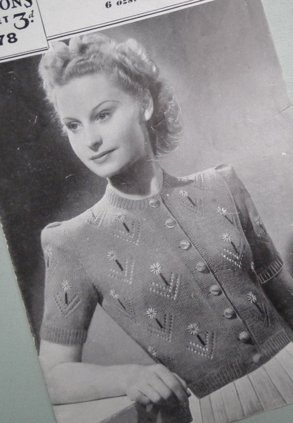 Vintage Knitting Pattern 1940s Womens Cardigan Embroidered