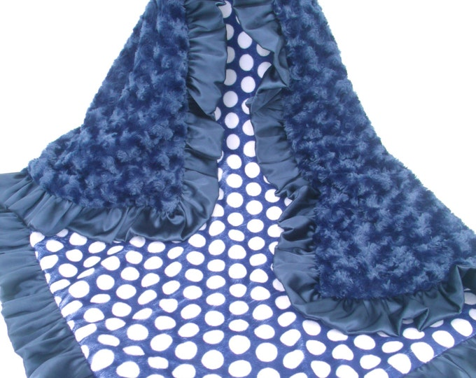 Navy Blue and White Polka Dot Minky Baby Blanket Can Be Personalized