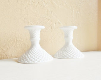 Beautiful Pair White Milk Glass Candlesticks Candle Holders Matching