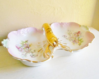 Beautiful Unique Shabby Chic Vintage Porcelain Serving Dish 2 Compartments Gold Lobster Handle Yellow