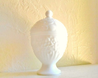 Milk Glass Pedestal Compote with Lid Decorative Jar