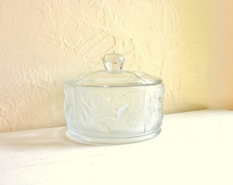 Vintage Cut Glass Jar with Lid with Floral Rose Flower Design with Handle