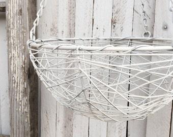 Small Hanging Basket, Distressed, Fruit Basket, Plant Holder, Farmhouse Hanging Basket, Gift for Mom, Yellow Kitchen