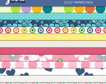 MOM Scrapbook Papers, Instant Download, 12 Digital Paper Pack. 12'x12' pattern prints, Background