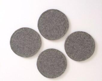 Wool Felt Coaster Set: Heather Grey Ground - Neon Green Stitching