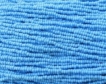 8/0 Opaque Light Blue Turquoise Czech Glass Seed Bead Strand (CW84)