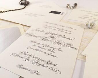 Chic Script Wedding Invitation Suite, Cream Black Tie Silver Script Wedding Invitations Custom Printable invitation Printable Wedding Modern